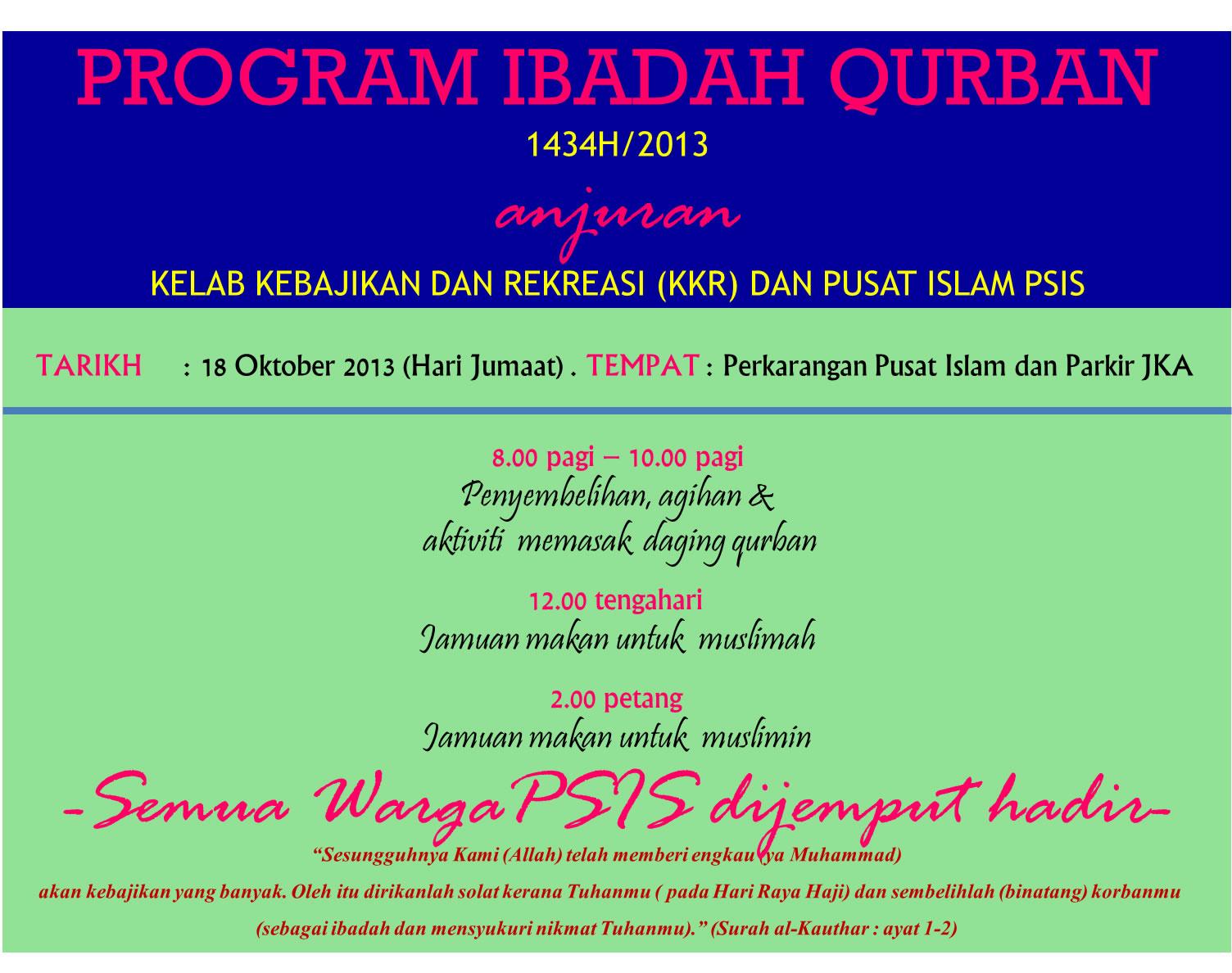 Jemputan Majlis Qurban Psis